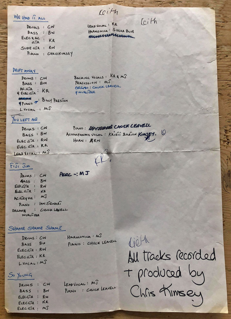 Rolling Stones track sheet Compass Point Studios in Nassau Bahamas, all recorded during the Emotional Rescue album in 1978.